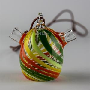 one hit bubbler, spiral; green-orange-yellow