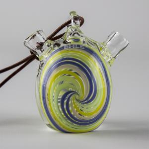 one hit bubbler, spiral; light green & blue